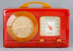 Deco Tomato RED Motorola Circle Grill 1939 Catalin Bakelite Vacuum Tube Radio   eBay