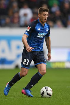 Andrej Kramaric of Hoffenheim controls the ball during the Bundesliga match between TSG 1899 Hoffenheim and Bayer 04 Leverkusen at Wirsol Rhein-Neckar-Arena on March 2017 in Sinsheim, Germany. Best Football Players, Running, Squad, Germany, March, Game, Photos, Beautiful, Sports