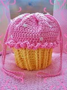 """Crochet Cupcake Party Purse; little miss m's purse was done in pink and purple, the pattern makes quite a large purse, but I was done in a night and she now carries her """"princesses"""" in it!"""