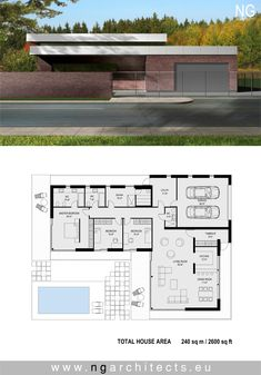Modern villa V designed by NG architects www. New House Plans, Modern House Plans, House Floor Plans, Modern Architecture House, Architecture Plan, Modern Villa Design, Villa Plan, Contemporary House Plans, House Blueprints