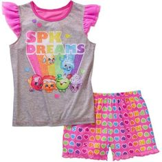 Shopkins Girls' Tank and Shorts Sleep Set, Size: 4/5, Pink
