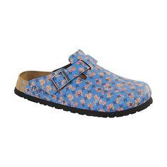 725cf6c504 Birkenstock - Boston - Birko-Flor in Floral Circles Blue (Papillio Footbed  - Suede