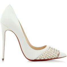 Christian Louboutin Bareta kid/rete Shoes (€825) ❤ liked on Polyvore featuring shoes, pumps, white, white high heel pumps, pointy-toe pumps, white peep toe pumps, spiked pumps and white pointed-toe pumps