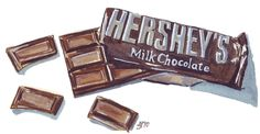 Watercolor Painting Chocolate Bar Watercolor Art by jojolarue Dessert Illustration, Watercolor Illustration, Watercolor Paintings, Watercolour, Watercolor Food, Hersheys, Hershey Chocolate Bar, Chocolate Drawing, Chocolate Art