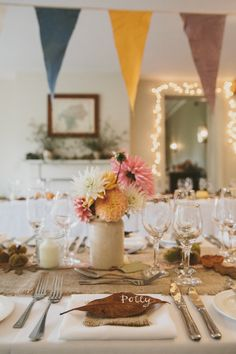 Rustic Autumnal Styling with Bunting & Dahlia Flowers - McKinley & Rodgers | The Olde Bell Hurley, Berkshire | Autumnal Styling | Tea Length Fur Coat No Knickers Wedding Dress | Story Catcher Videography