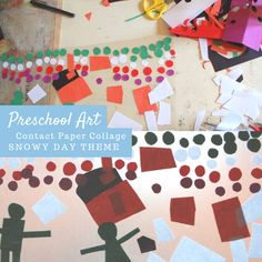 Preschool Art Collage Project Snow Scene with Contact Paper Winter Activities For Kids, Science Activities For Kids, Preschool Art, Preschool Winter, Christmas Activities, Craft Projects For Kids, Arts And Crafts Projects, Kids Crafts, Toddler Art