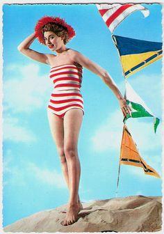 Raising the flag for fantastic vintage beach style. #vintage  #swimsuit
