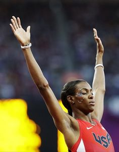 United States' Deedee Trotter prepares to compete in a women's 400-meter semifinal during the athletics in the Olympic Stadium.
