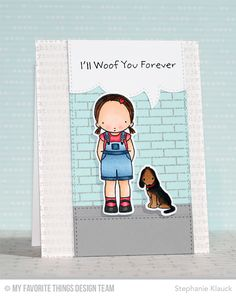 PI Woof You Stamp Set, PI Woof You Die-namics, Paw Prints Background, Typewriter Text Background, Stitched Speech Bubble Edges Die-namics - Stephanie Klauck  #mftstamps