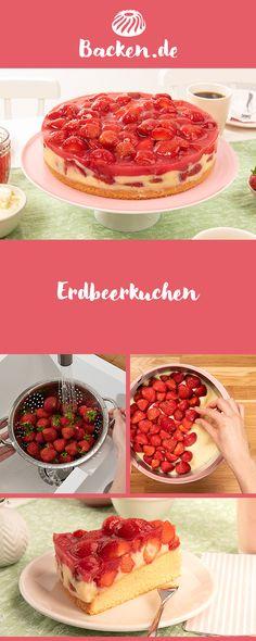Einen leckeren Erdbeerkuchen könnt ihr mit Hilfe unseres Rezeptes kreieren. Als perfekte süße Abkühlung für Zwischendurch oder für die Kaffeezeit am Nachmittag. French Toast, Muffins, Breakfast, Desserts, Food, Fresh Strawberry Pie, Cooking, Cute Ideas, Proper Tasty