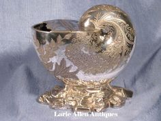 High Relief Silverplated Nautilus Spoon Warmer by Atkin Brothers
