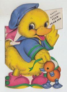 Vintage DIE CUT Duck With TOY 4 YR OLD Birthday Greeting Card | eBay