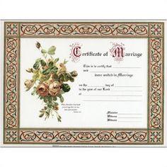 WeddingDepot.com ~ Marriage Certificate - Water Color Bouquet ~