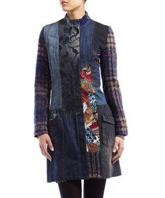 Quilted patch denim coat in multi Sale - Desigual
