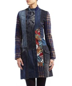 Desigual quilted patchwork denim coat