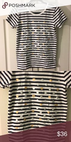 Jcrew striped tee with gold and silver print Jcrew navy and white striped tee with gold hearts and silver dots. 100%cotton. Worn only once- in excellent condition. J. Crew Tops Tees - Short Sleeve
