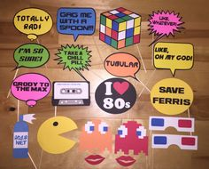 Totally RAD package of 1980s themed Photo Booth party props.  Each prop comes with a 6 inch wooden dowel attached to provide for easy holding.