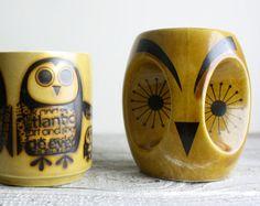 Trio of Vintage Owl Mugs  Mid Century  by shavingkitsuppplies