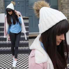 Brunette blogging beauty Victoria Rose is ready for the chilly Spring days ahead in her exclusive Amelia Jane ivory faux fur pom pom hat! Love AJ Xx