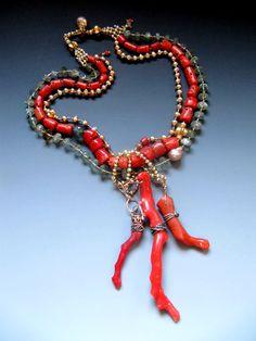 Antique Coral, moss aquamarine, fresh water pearls, 18 karat gold, antique silver LuciaAntonelli.com
