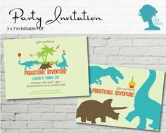 Dinosaur Party Invitation $10AUD by The Digi Dame Printable Party Decor. Visit thedigidame.com to purchase!
