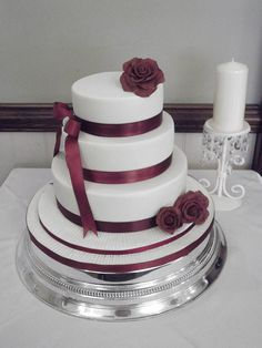 Isobella - 3 tier burgundy themed wedding cake by Sweetpea cakes and Treats, via Flickr