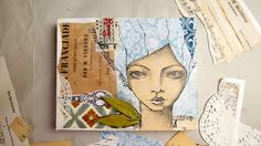 creating a mixed media girl using collage and pencil sketch A short youtube video of the creation of this artwork using mixed media, old vintage papers, sketching for the face, some pastels, acrylic paint and a little pair of leaf wings!