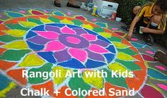 Rangoli Art - Diwali Crafts :: Trace with white chalk, fill w coloured sand