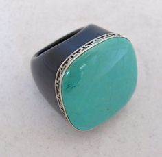 BIG Black Onyx Ring with 27mm Turquoise & Sterling Silver  (27g, size 5.5) #Cocktail