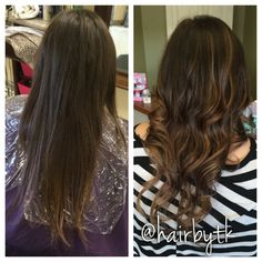 Before and after balayage highlights on dark hair