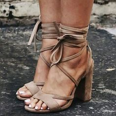 Shop Sandals - Camel Lace-up Suede Chunky Heel Dress Spring/Fall Sandal online. Discover unique designers fashion at StyleWe.com.