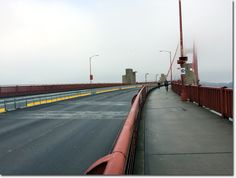 An empty Golden Gate Bridge | Well, not empty, just no vehicular traffic.  Biking rules.  :)