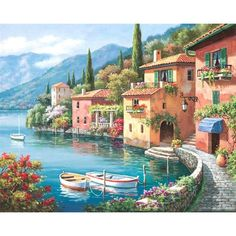 Sung Kim Villagio dal Lago painting for sale, this painting is available as handmade reproduction. Shop for Sung Kim Villagio dal Lago painting and frame at a discount of off. Belle Image Nature, Landscape Paintings, Art Paintings, Seascape Paintings, Lakeside Village, Paint By Number Kits, Beautiful Paintings, Painting & Drawing, Diy Painting