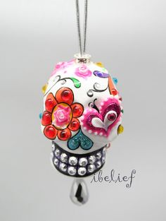 Skull day of dead charm hang rear view mirror for car on Etsy, $34.00