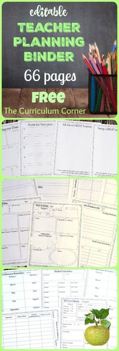 FREE Editable Teacher Planning Binder - 66 editable pages from The Curriculum Corner This is the teacher binder for you! It has been designed to include everything you need to get your school year started on an organized note. Teacher Organization, Teacher Tools, Teacher Hacks, Teacher Resources, Organized Teacher, Teachers Toolbox, Organizing, Learning Organization, Planner Organization