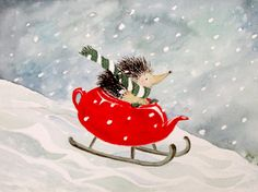 Winter Children Art Hedgehog Christmas Red Teapot by ucuspucus This is the cutest thing ever Art And Illustration, Hedgehog Illustration, Christmas Illustration, Hedgehog Art, Cute Hedgehog, Red Teapot, All Nature, Christmas Art, Art For Kids
