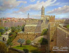 Migdal David in Jerusalem, painting by Alex Levin
