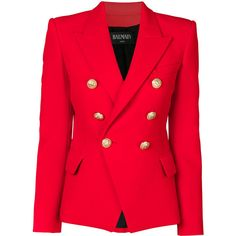 Balmain Double Breasted Blazer (7.550 BRL) ❤ liked on Polyvore featuring outerwear, jackets, blazers, tops, red, balmain blazer, red military jacket, double breasted blazer, flare jacket and red military style jacket