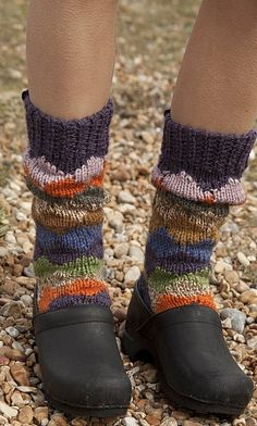 Diamond patterned socks handknitted from heather coloured chunky yarn, perfect for lounging.
