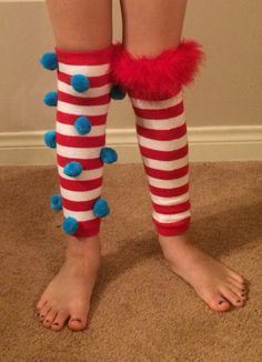 Made these leg warmers for my little girl for Crazy sock day at school. Dr. Seuss week at school!