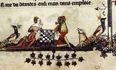 Game of Chess two peacocks and dog. Flemish Bodl by Tony Harrison on… Medieval Games, Medieval Life, Medieval Art, Medieval Manuscript, Illuminated Manuscript, Renaissance, Ancient Egyptian Art, Ancient Aliens, Ancient Greece