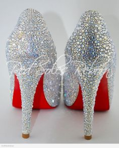 Christian Louboutin Hyper Prive strassed in Moonlight Swarovski crystals by Red Soles Reborn.