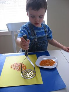 Potato Masher Prints - Art Project For Toddlers - No Time For Flash Cards to be pumpkins Toddler Arts And Crafts, Toddler Art Projects, Easy Art Projects, Projects For Kids, Crafts For Kids, Kids Diy, Toddler Preschool, Preschool Crafts, Art Activities For Toddlers