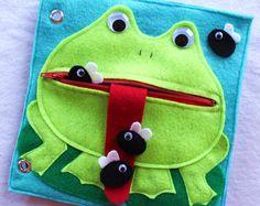 """Benutzerdefinierte handgefertigte ruhigen Buch Seite-""""Hungrig Frog"""" - Einzelseite Ihr personalisierte ruhige Buch erweitern"""