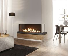 The Bidore 140 by and distributed by European Home is a stunning, frameless, linear right or left corner fireplace featuring a clean contemporary design. All glass corners allow an unobstructed view of this modern gas fireplace. Corner Gas Fireplace, Direct Vent Gas Fireplace, Vented Gas Fireplace, Linear Fireplace, Double Sided Fireplace, Home Fireplace, Faux Fireplace, Fireplace Inserts, Fireplace Surrounds