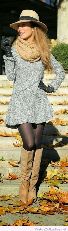 Grey fall dress with nude accessories