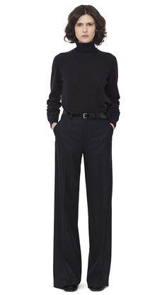 WOMEN AUTUMN WINTER 15 - Brindle cashmere Deep Trim T-Shirt, black merino wool Fine Roll Neck, black flannel Wide Leg Trouser, black patent leather Slim Belt, black patent leather Heeled Sandal