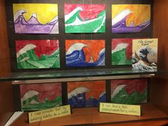 Hokusai inspired waves, with a focus on complementary colors and tinting with white.  3rd grade