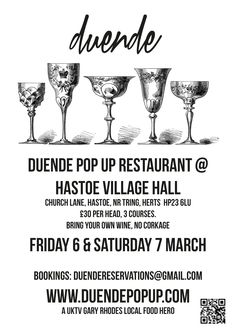 An early poster for Duende restaurant popping up at Hastoe, near Tring.