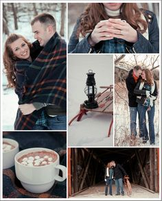 Rustic Outdoors Winter Engagement Session- blanket, sled, and hot cocoa